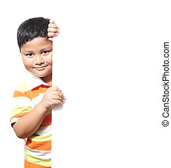 Boy beside a white background