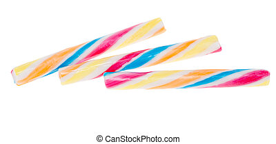 colored candy sticks isolated on a white background