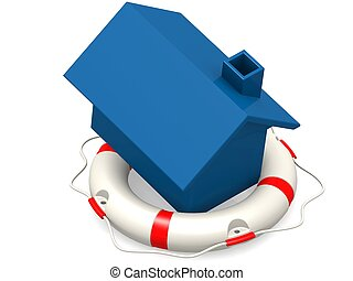 Life buoy with blue house - Hi-res original 3d rendered...