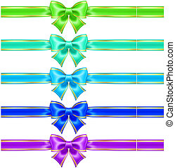 Bows with edging and ribbons in cool colors - Vector...