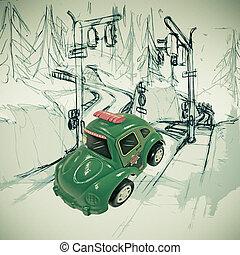 Toy car on a sketch