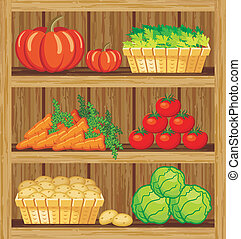 Supermarket Shelfs and vegetables - Image of a rack of wood...