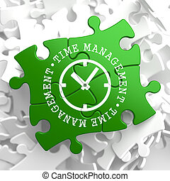 Time Management Concept on Green Puzzle Pieces. - Time...