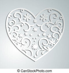 paper heart - beautiful filigree paper heart on a white...