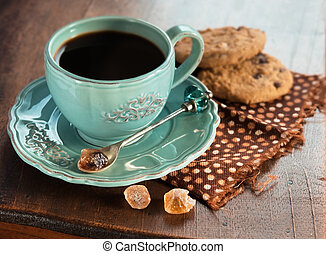 Morning coffee - Cup of coffee with oatmeal cookies on a...