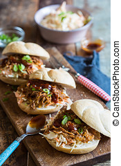 Pulled pork sandwiches - Delicious sandwiches with coleslaw,...
