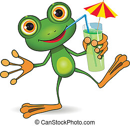 Frog and cocktail - illustration of cheerful frog and a...