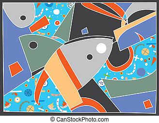 Abstract background with fish motive and pattern