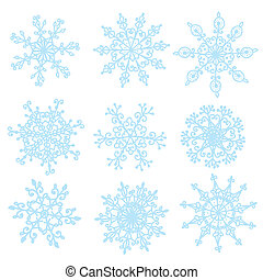 Snowflakes set funny design hand drawn style