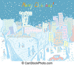 Christmas town greeting card with people