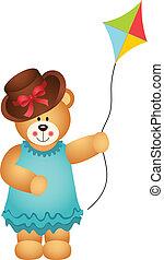 Girl Teddy Bear with Kite Wind