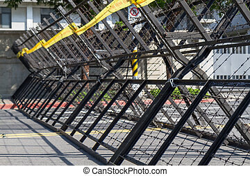 Riot barriers in street