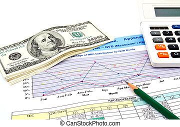 鉛筆, 美元, 圖, 金融, 計算器