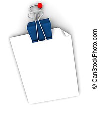 postit note  with red thumb tack and blue clip