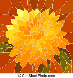 Illustration yellow chrysanthemum - Vector mosaic with large...