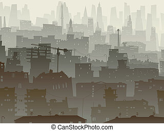 Big city in dusk. - Vector abstract background of big city...
