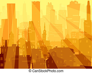 Big city and rays of light. - Vector abstract background of...