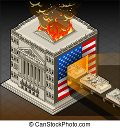 Isometric Stock Exchange Burning Dollars - Detailed...
