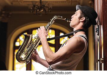 tocando, funky, música, bonito, jovem, jazz, homem,...