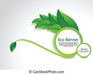 Eco Banner With Leaf vector