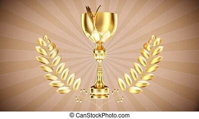 Gold cup with laurel wreath- Stock - Video loopable from...
