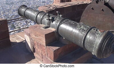 historical ornate cannon in fort - historical ornate cannon...