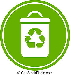 Recycle waste bin icon - Recycle waste bin isolated on white