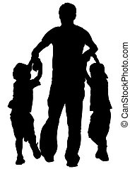 Father and sons - Vector drawing of a father and son out for...