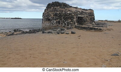 Ancient Castle in Caleta de Fuste. Canary Island...