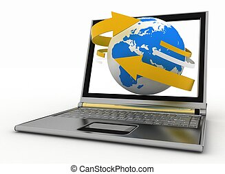 Laptop with earth and arrow. Internet concept