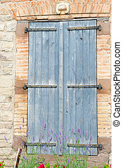 French window with blue shutters - French windows with blue...