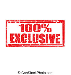 100% Exclusive-stamp - Grunge rubber stamp with text 100%...