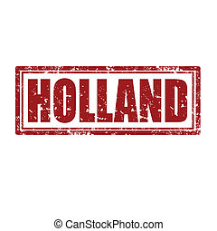 Holland-stamp - Grunge rubber stamp with word Holland,vector...
