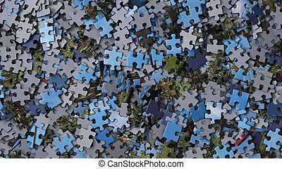 Pieces of Jigsaw Puzzle Background - A jigsaw puzzle is a...