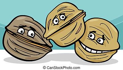 walnuts nuts cartoon illustration - Cartoon Illustration of...