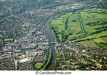 Kingston and Hampton from the air - Aerial view of the River...