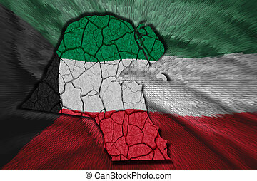 Kuwait Map - Map of Kuwait in National flag colors