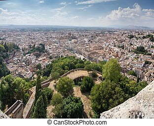 View of Granada from the Alhambra - Panoramic view of the...