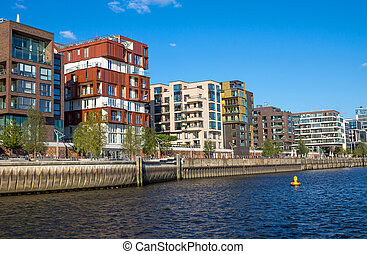 Part of the Hafencity in Hamburg with new Apartment houses