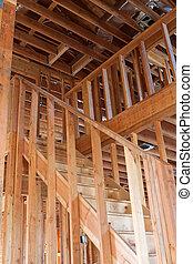 Unfinished Home Frame Interior - Framed building or...