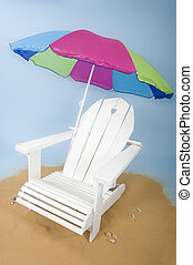 adirondack chair in the studio simulating the beach with...