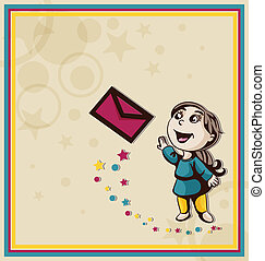 Girl sends a letter in an envelope. Vector illustration