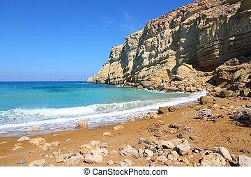 Crete - Coast of Crete island in Greece. Red Beach of famous...