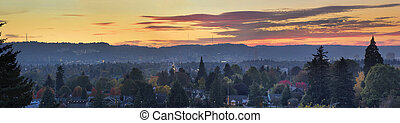 Sunset Over Portland Oregon Cityscape Panorama - Golden...