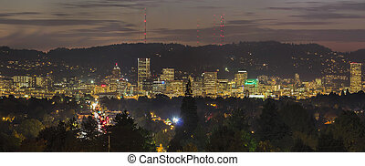 Portland City Skyline Lights Up at Night - Portland Oregon...