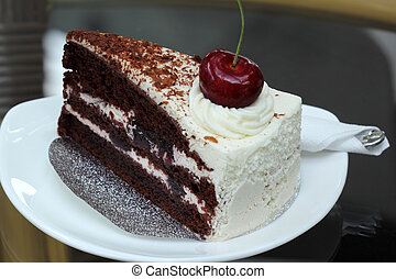 Black Forest Cake on the glass table