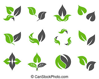 green leaves design icons - isolated green leaves design...