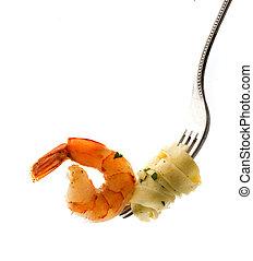 tenedor, pastas, camarón