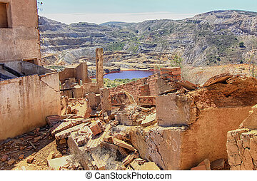 old village destroyed in ruins and abandoned by the bombs of...