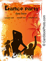 Grunge background with dancing people - Orange grunge palm...